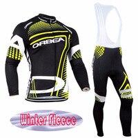 VACOVE 2017 Mens Winter Thermal Fleece Orbea Pro Team Cycling Jersey Long Sleeve Jerseys Cycling Bib Pants Cycling Clothes Sets
