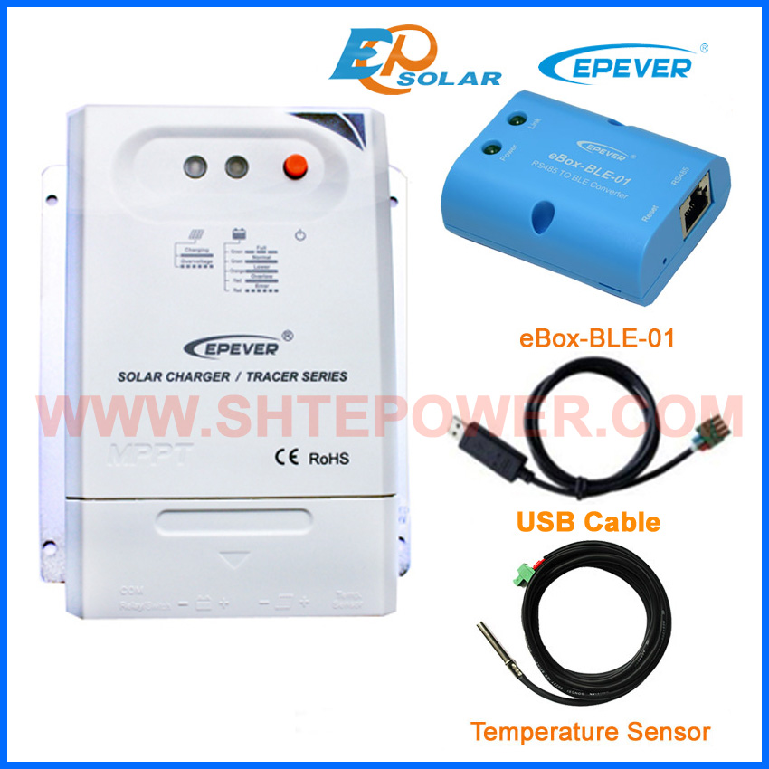 solar voltage controller 12v 24v auto work use EPEVER EPsolar Tracer3210CN USB+temperature sensor cables bluetooth connect epever mppt solar controller tracer2210cn 20a 12v 24v auto type with usb connect computer and temperature sensor
