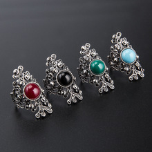 New Classic Women Rings Stainless Steel Hollow Silver Geometric with Big Stones Wedding Jewelry Yuzuk Anillos Mujer