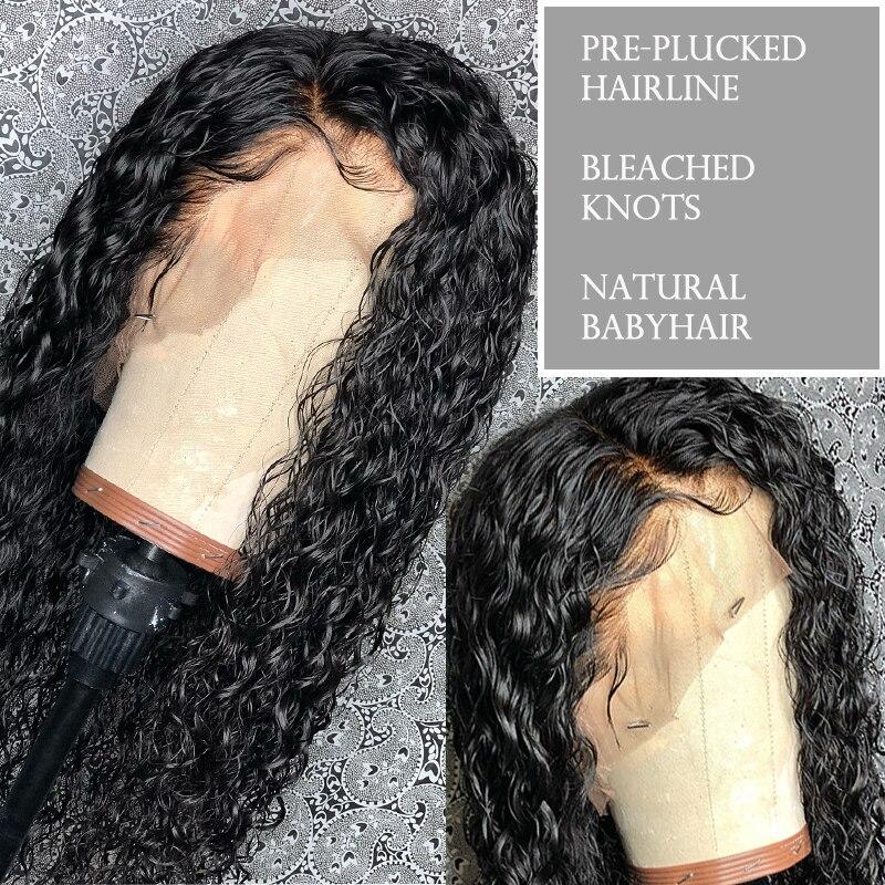Deep Wave 360 Snörning Frontpärra Pre Plockad Med Babyhår - Mänskligt hår (svart) - Foto 6