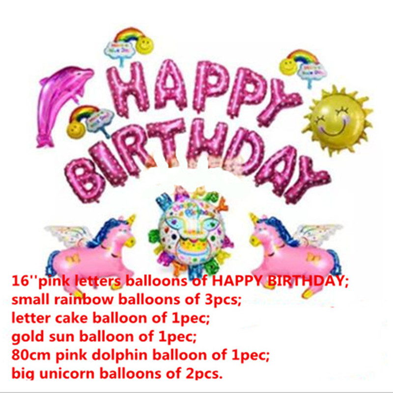 21pcs Happy birthday balloons set,baby girl 1st 100days birthday pink party deco