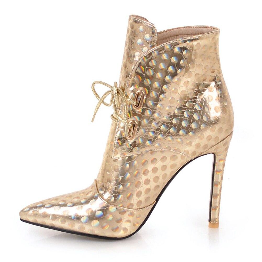 ce65beca silver Puntiaguda Zapatos Las Sexis 44 Fiesta Doratasia Altos 2018 Grande  Fur Botas gold Tacones Encaje ...