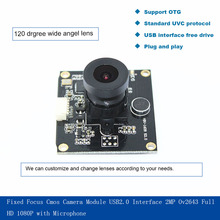 Fixed Focus Cmos Camera Module USB2.0 Interface 2mp Ov2643  Full HD 1080P with Microphone