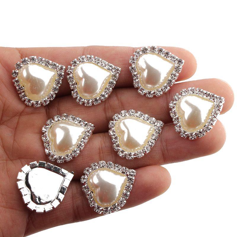 120 шт. 21 мм x 23 мм сердце белый искусственный жемчуг Кнопка Flatback украшение со стразами Пуговицы для Свадебные украшения