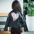 Spring Autumn trendy baby girls leather jacket super cute child toddler girl heart shape back PU jackets coat designer outwear