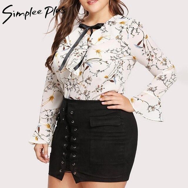 Simplee Plus 2018 Autumn Fashion Women Plus Size Chiffon Blouse Shirt xxxl  4xl 5x Ruffle Neck 53f7ce67fa7a