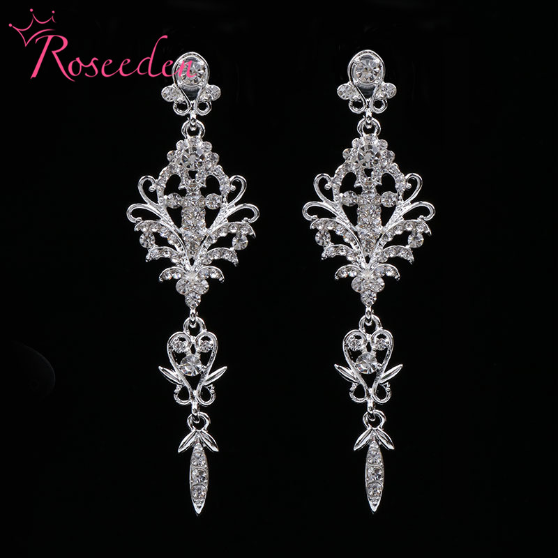 Us 6 62 10 Off Fashion Bride Wedding Earrings Inlay Shinning Rhinestone Drop Bridesmaid S Las Evening Party Jewelry Re812 In