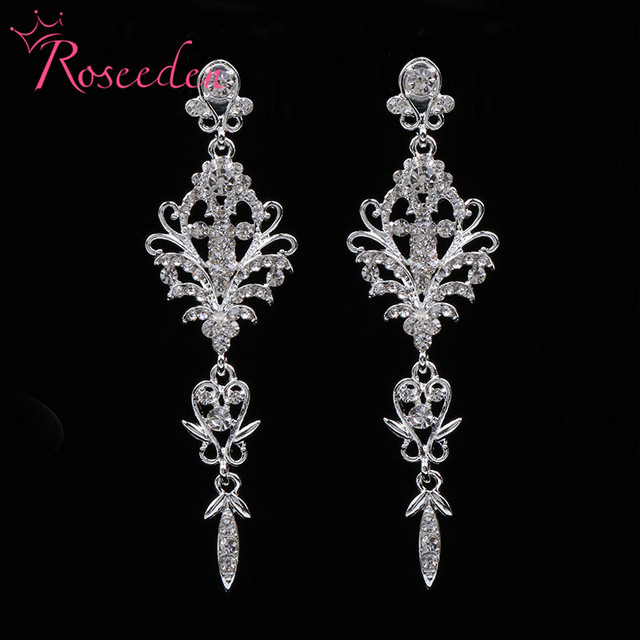 Fashion Bride Wedding Earrings Inlay Shinning Rhinestone Drop Bridesmaid S Las Evening Party Jewelry Re812