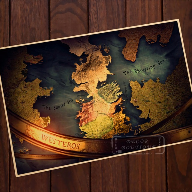 Westerns sunset sea map game of thrones vintage classic retro canvas westerns sunset sea map game of thrones vintage classic retro canvas painting frame poster diy wall gumiabroncs Images