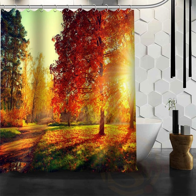 Best Nice Custom Forests Autumn Shower Curtain Bath Waterproof Fabric For Bathroom MORE SIZE WJY112