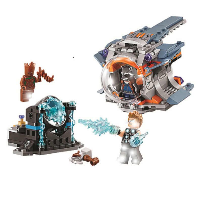 242pcs Super Heroes Vingadores Autoras Busca Arma Foguete Groot 10835 Modelo Blocos de Construção de Brinquedos Tijolos Compatível