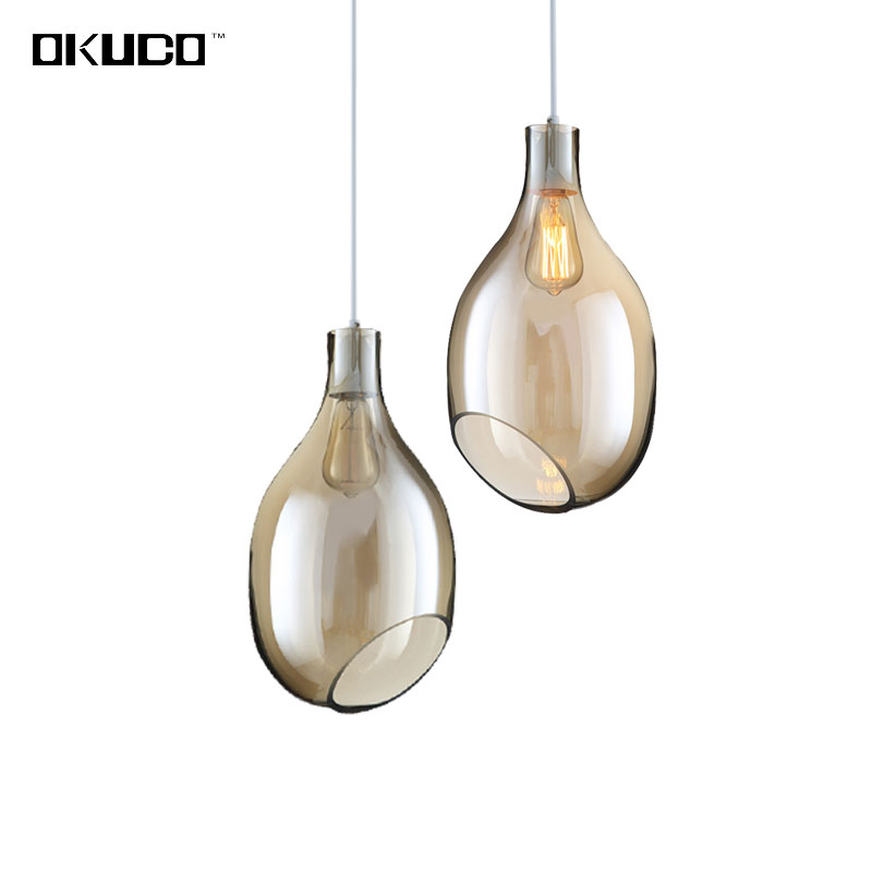 Amber glass Modern pendant lights for dining room coffee hotel simple design home decorate with LED source hanging lamp