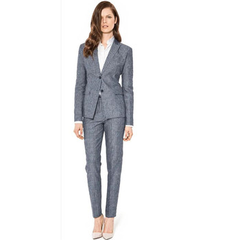 new Grey Stripe Suits Office Lady Suits women pants Casual Suits Business Suits Custom Made 2 Piece Jacket+Pants
