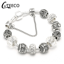 CUTEECO Hot Sale Silver Plated Charm Bracelet With Antique Original Glass Beads Brand Bracelets For Women Luxury Jewelry Gift