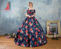 New Printing Quinceanera Dresses 2018 Off The Shoulder Masquerade Ball Gown Long Prom Gown Sweet 16
