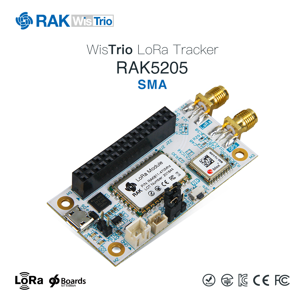 WisTrio LoRa Tracker RAK5205 is built on SX1276 LoRaWAN modem with low power micro controller STM32L1, integrated the GPS module