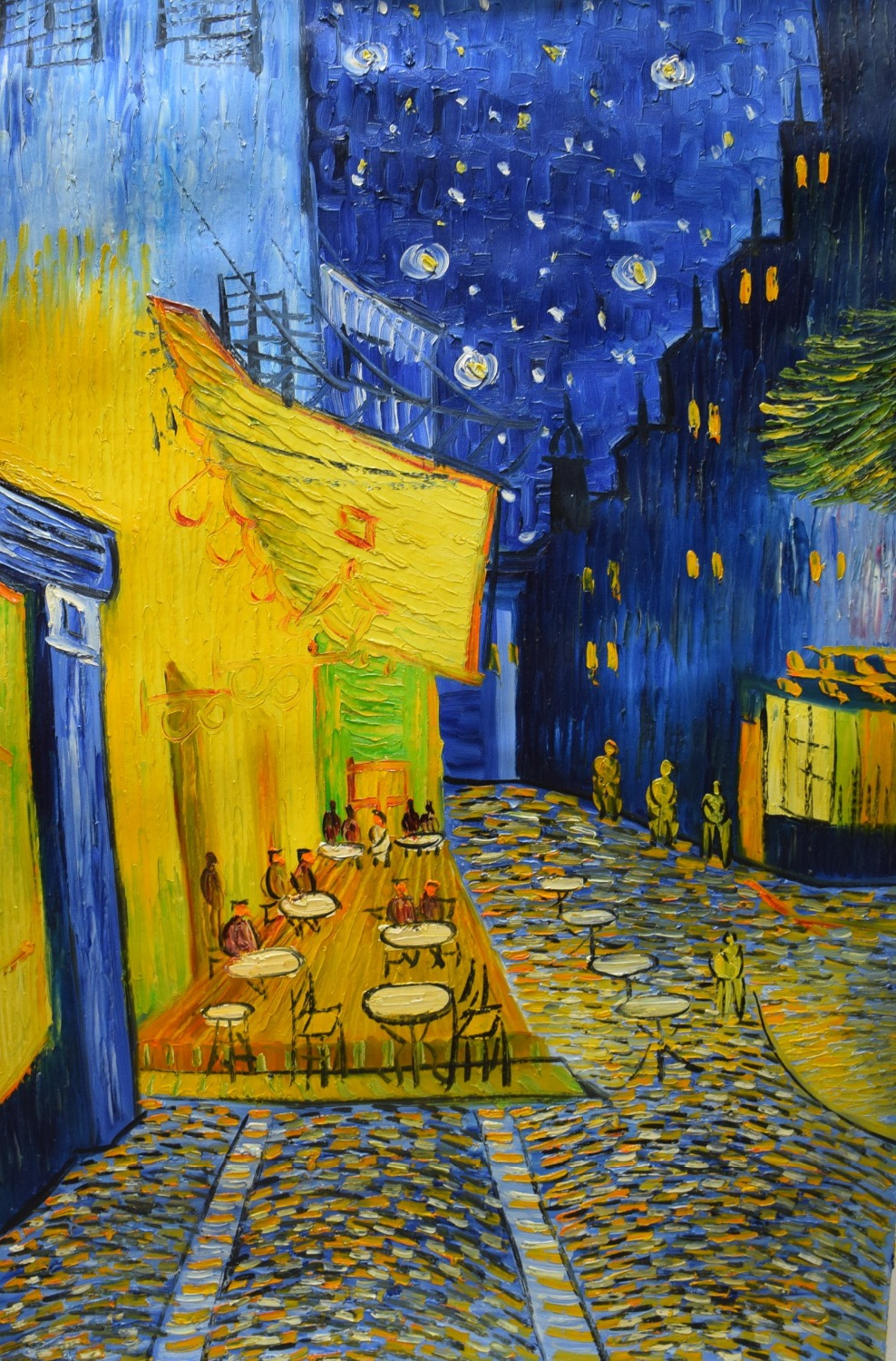 Famous cafe painting - Famous Van Gogh Oil Painting Reproduction Cafe Terrace At Night Hand Painted Abstract Canvas Wall Art
