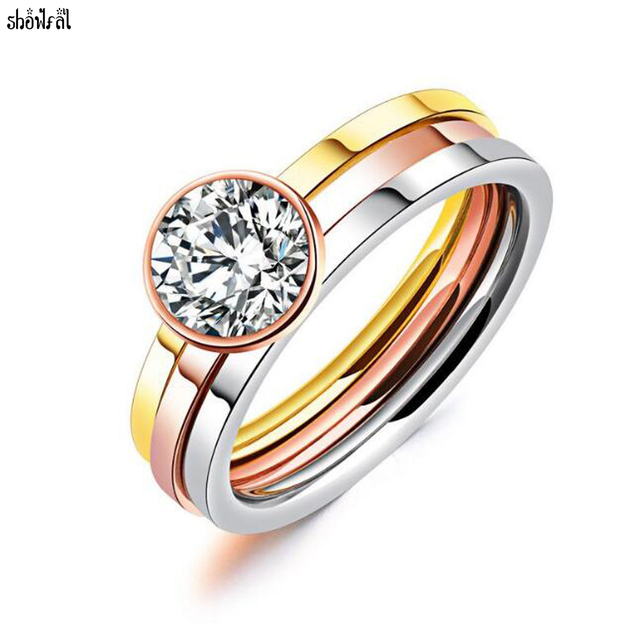 f8e8f1f42 Crystals From Swarovski 3 Rounds Zirconia Engagement Rings Sets Stainless  Steel Rose Gold Wedding Ring Carter Jewelry For Women