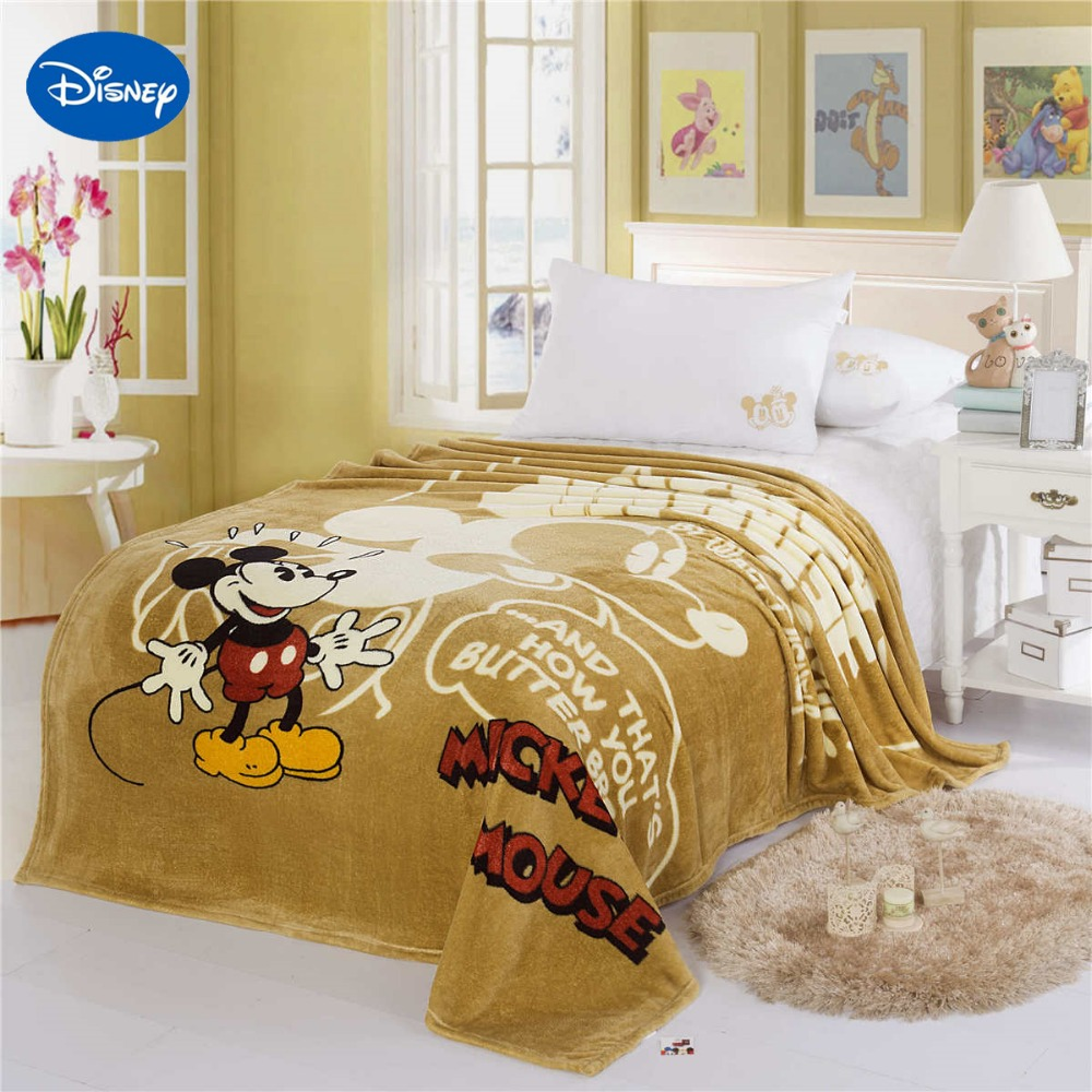 Disney Mickey Mouse Printed Blankets 150*200CM Girls Bed Bedroom Decor Cartoon Characte Chocolate Polyester Coral Fleece Fabric