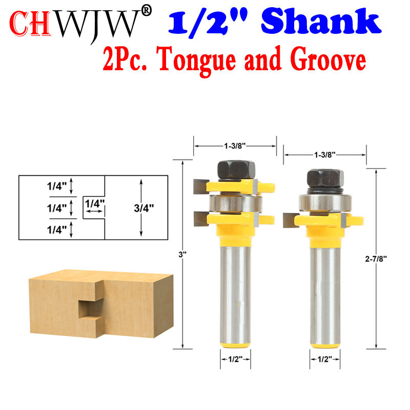 2pc Tongue and Groove Router Bit Set 1/4 x 1/4 - 1/2 Shank Woodworking cutter Tenon Cutter for Woodworking Tools 2pcs tongue