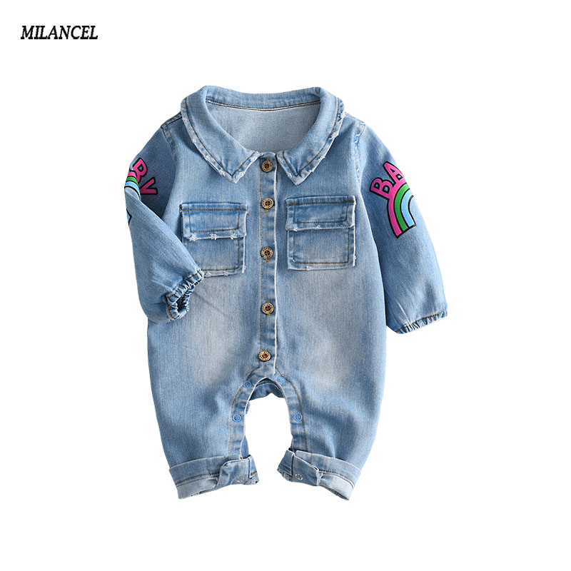 2018 Baby Boys jeans blue jumpsuit spring baby boys Clothes Denim long sleeve girffe romper boys jumpsuit cute outfits One piece plunging neck long sleeve skirted jumpsuit