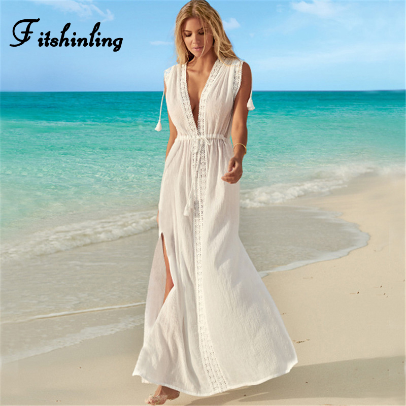 1f847ffce6 Fitshinling Lace splice white long dress beach deep v neck sexy summer  sundress boho drawstring side