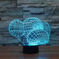 Frete Grátis Mudança de Cor Brilhante 7 Macaco Dos Desenhos Animados acrílico 3D LED Night Light USB 3D LEVOU Candeeiros De Mesa Decoração de Casa para o Presente