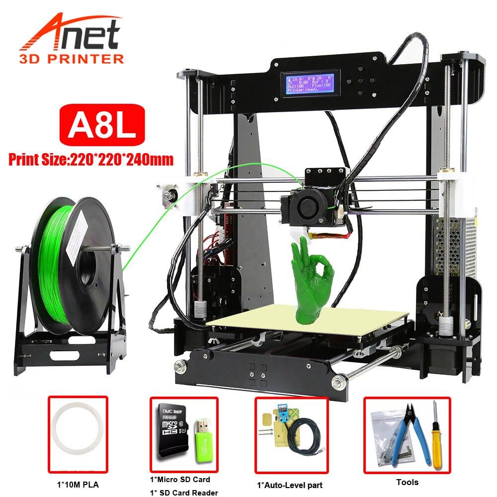 Новый 3D-принтер Anet A8 A6  набор для самостоятельной сборки  большой размер печати  Высокая точность  Reprap i3  DIY с 8G Micro SD картой  USB Connetor title=