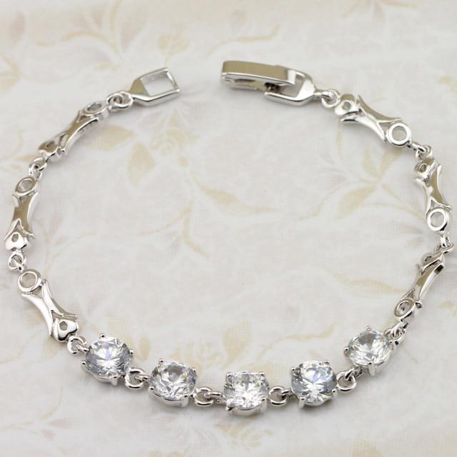 save off 9ad3c 62555 Nobby encantadora blanca CZ joyas pulsera de rodio plateado regalo de  joyería para las mujeres BB003