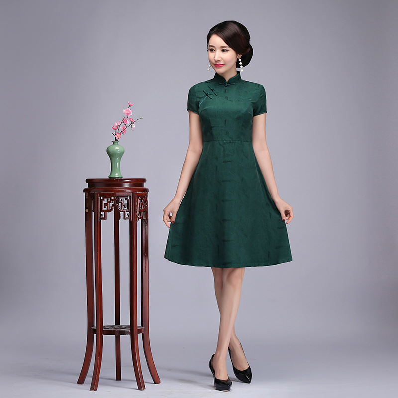 Rayon Satin Novelty Women A-Line Dress Vintage Handmade Button Cheongsam Elegant Short Sleeve Qipao Vestidos Oversize XXXL