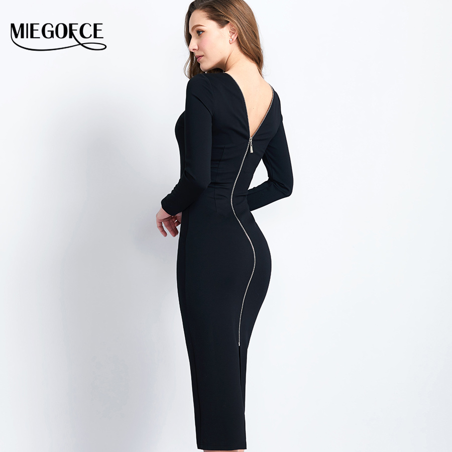 Long Slim Womens Dress Open back Spring Autumn Elegant Dress High Quality Western Style Sexy Brief Dress MIEGOFCE New Collection