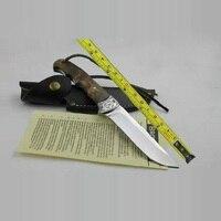7Cr17mov lâmina 58HRC Browning sombra madeira handle facas de lâmina fixa de caça faca de acampamento ao ar livre ferramenta de sobrevivência tático