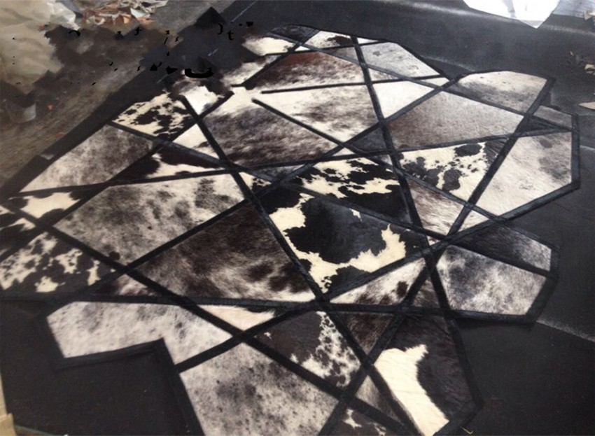 buy genuine luxury one pelt natural cowhide rug big size 140170cm geometric shaped cowskin carpet for living room decoration from