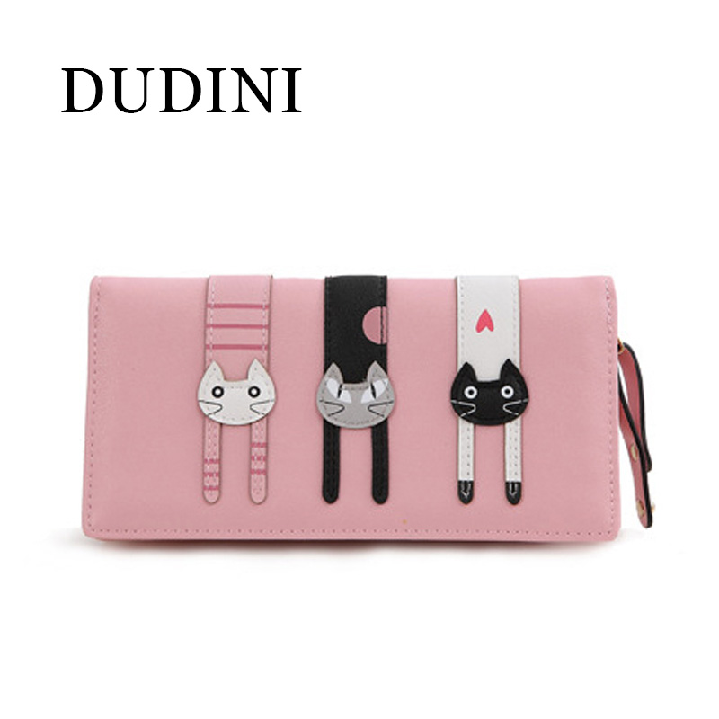 DUDINI  Clutch Zipper Long And Short Bifold Leather Wallet Female Purse Zipper Around Coin Bag  Faux Leather Three Cat Wallet