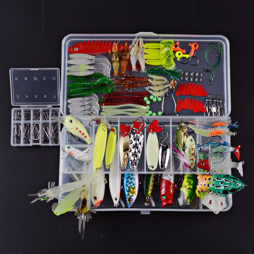 <font><b>Fishing</b></font> Lure Kit Complete Set With Hard Lures Soft Bait Accessories Case Minnow Crank Popper Swivel Mixed