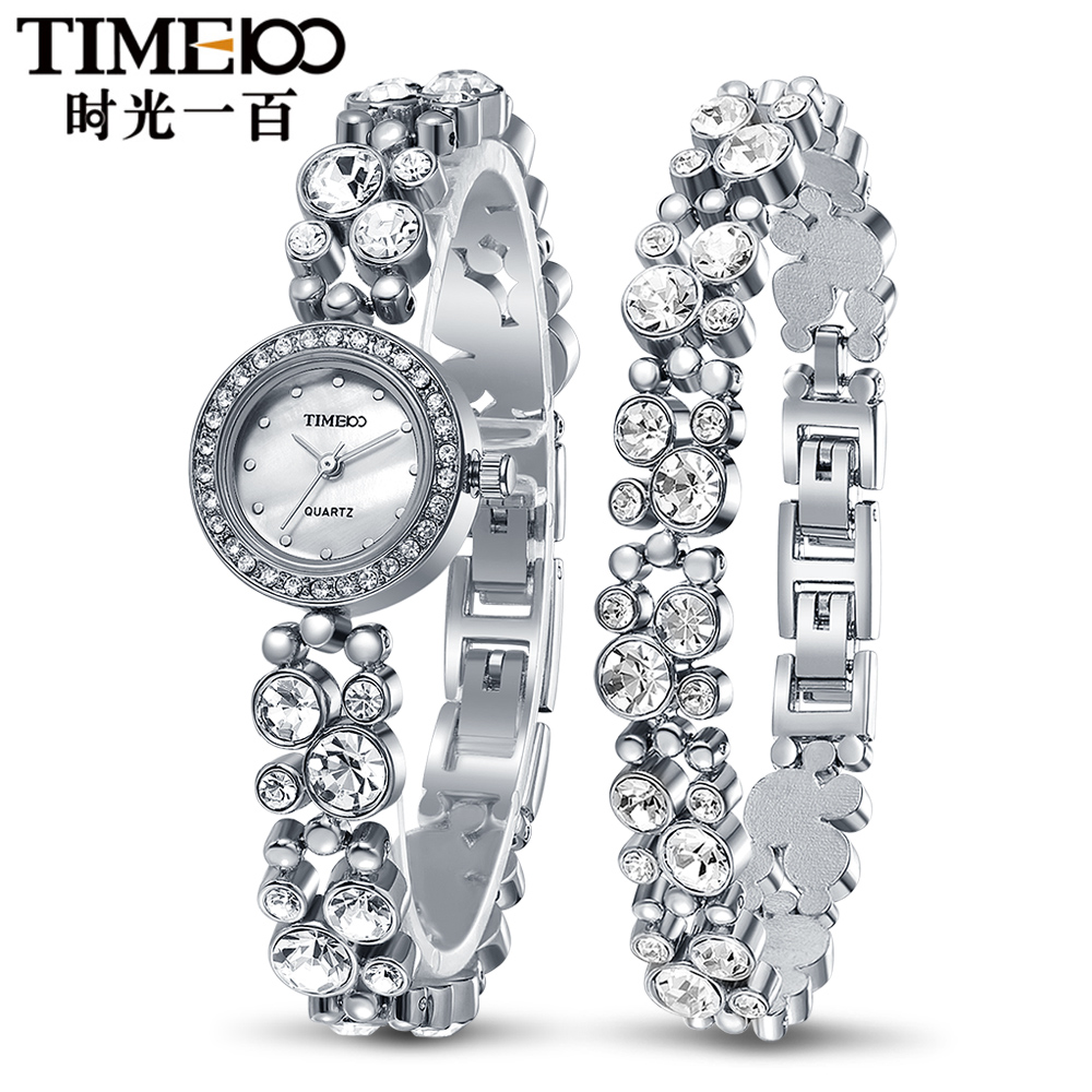 Time100 Women Bracelet Watches Fashion Quartz Watch Silver Diamond Shell Dial Ladies Wrist Watches For Women