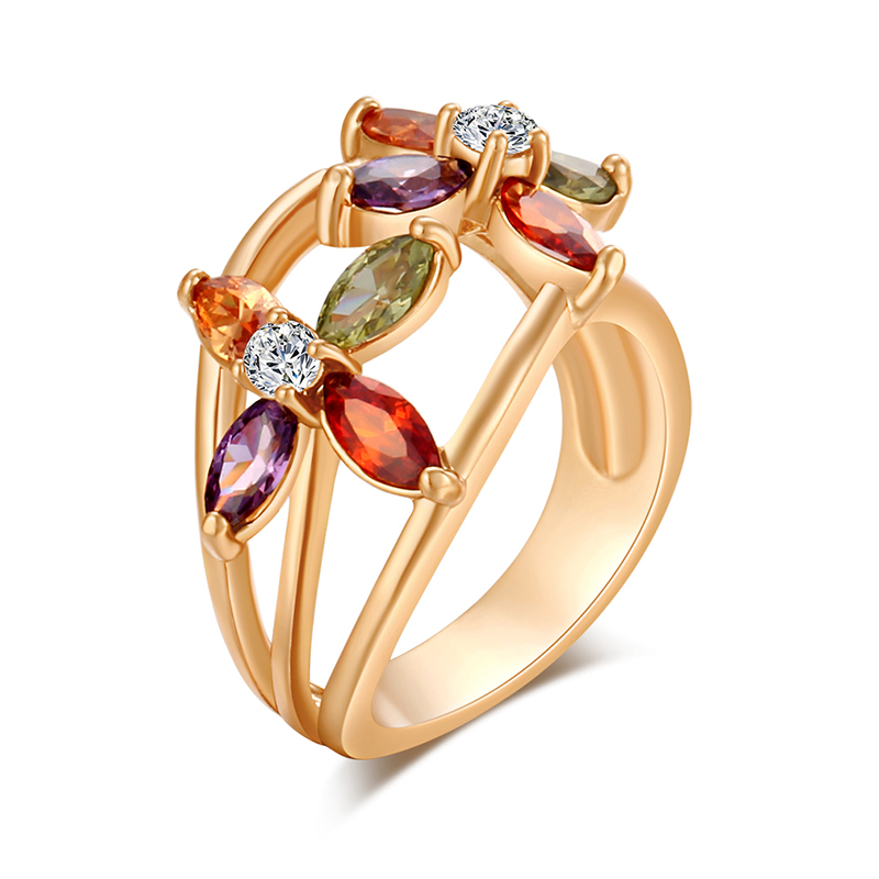 High Quality Elegant Colorful Rings Charm Flower CZ Crystal Gold Color Engagement Ring Wedding Jewelry For Women Fr