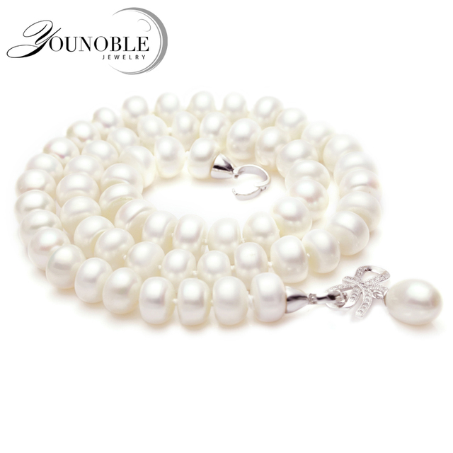 Genuine natural pearl necklace pendant jewelry real wedding freshwater pearl nec