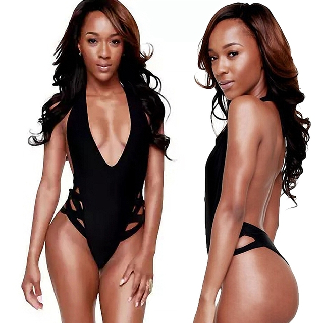 592aade8ae423 Black Women Sexy Monokini Thong Bodysuit Low V-neck Sex Swimwear One Piece  Spider-web Bandage Swimsuit Bathing Suits