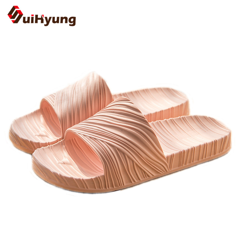 Suihyung 2018 NEW Women Summer Slippers Soft Bottom Non-slip Beach Slippers Flip Flops Female Wood Pattern Pure Bathroom Slipper summer new women slippers cute fruit bathroom bunny home indoor slippers non slip soft bottom beach slippers
