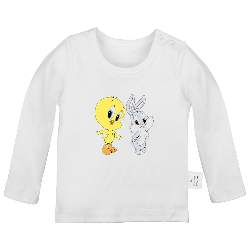 Cartoon Cute Rabbit Bugs Bunny and Tweety Birds Black Cat Newborn <font><b>Baby</b></font> T-<font><b>shirts</b></font> Toddler Graphic Solid color <font><b>Long</b></font> <font><b>sleeve</b></font> Tee Tops image