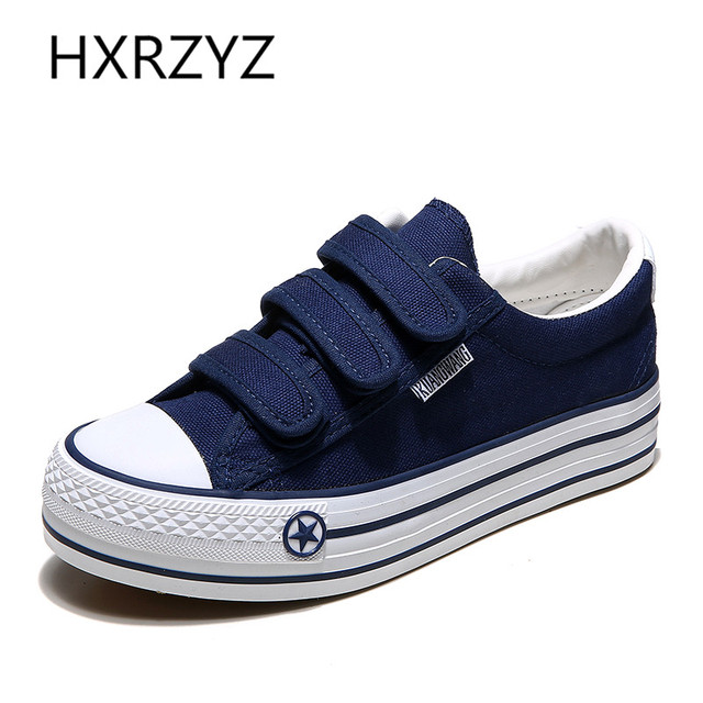 All-match Autumn Height Increasing Canvas Shoes Women Fashion Casual Platform Shoes Girls Rubber Bottom Flat Shoes Blue Black