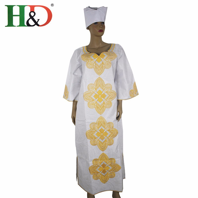 H & D New Fashion African bazin riche dress for women Kapas 100% - Pakaian kebangsaan - Foto 6