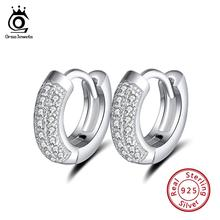 ORSA JEWELS Real 925 Sterling Silver Vintage Earrings Women With Clear Zircon 10mm Small Hoop Earing Female Jewelry Gift OSE103
