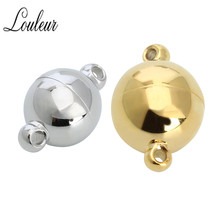 LOULEUR 2 sets/lot 8/10/12/14mm Stainless Steel Strong Magnetic Clasps for Necklace Bracelet Chain Buckle Hook Jewelry
