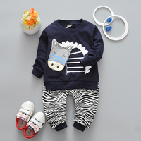 New Style 2017 Spring Autumn Baby Girls Boys Clothes Sets Cartoon T Shirt Leopard Pants 2
