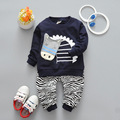 New Style 2017 Spring Autumn Baby Girls Boys Clothes Sets Cartoon T Shirt+Leopard Pants 2 Pcs Infant Suits Kids Children Suits