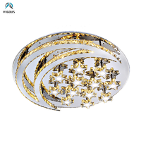 Modern Chrome Steel Lustre Led Ceiling Lights Luminaria K9 Crystal Moon and Star Shape Dimmable Ceiling Lamp Remote Control Lamp