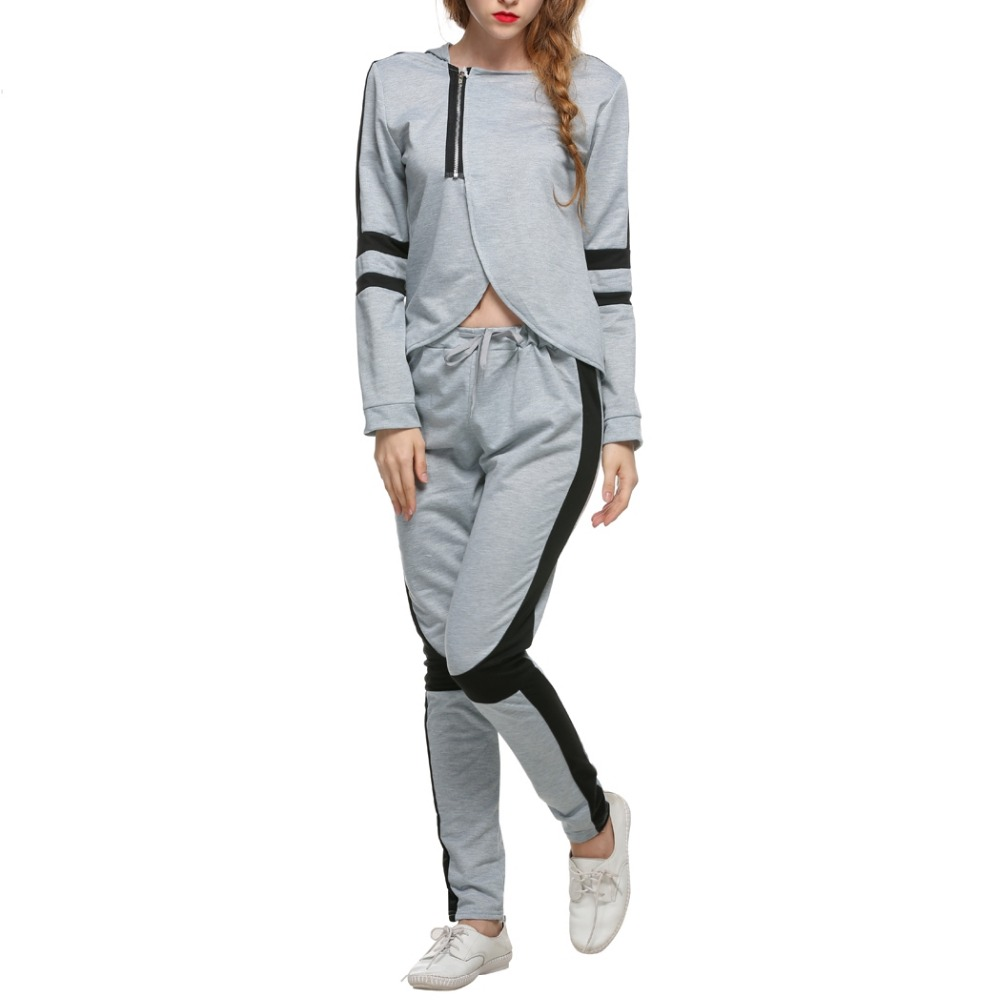 LETEOO Autumn Two Piece Set Grey Crop Top And Pants Suit Cut Out Cropped Track Suit Long Sleeve Tops WomenS Tracksuits JDB40