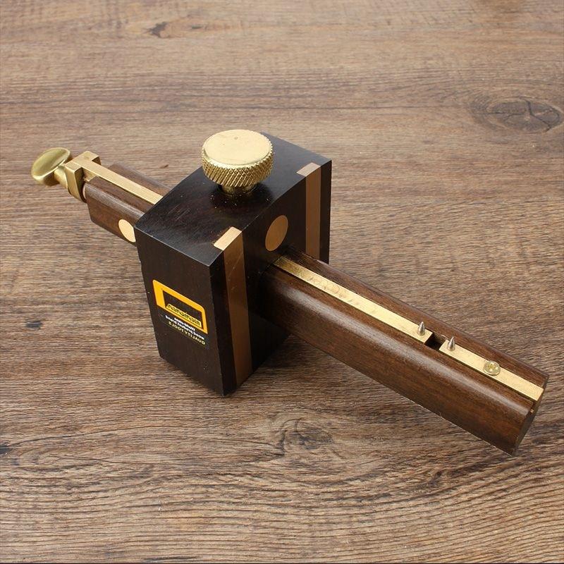 Luxury British Indonesia Ebony+Pure Copper Wearproof Carpenter Woodworking Tool 8 Inch Screw Cutting Gauge Mark Scraper Scribers screw cutting gauge tools inch tool tool - title=